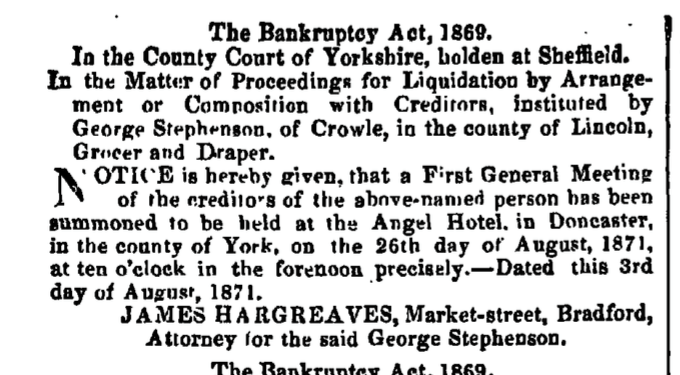 George Stephenson declared bankrupt.