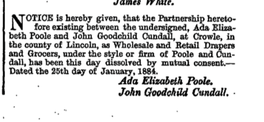 Dissolution of the Partnership between John Godchild Cundall and Ada Elizabeth Poole after death of Poole.